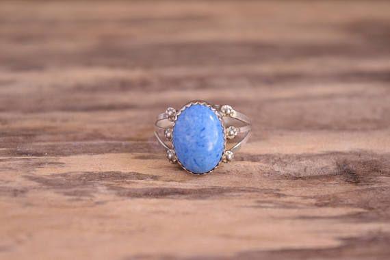 Denim Lapis Ring  Sterling Silver Signed Ring  Light Blue