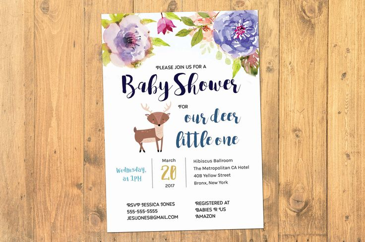 Oh Deer Baby Shower Invitation, Baby Shower Invitation, Deer Baby Shower Invitation, Boy Girl  Baby Shower, Little Deer Baby Shower , Unisex