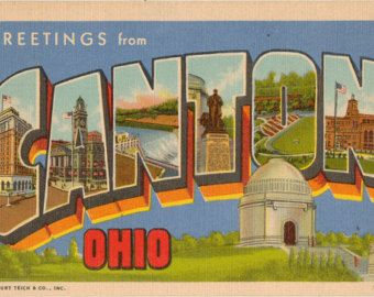Linen Postcard, Greetings from Canton, Ohio, Football Field, Large Letter, ca 1950