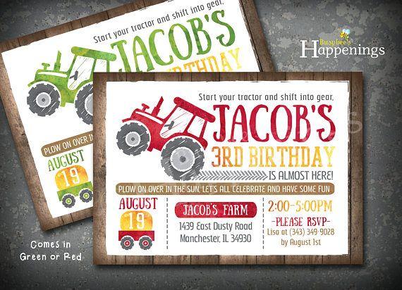 Tractor Birthday Invitation Tractor Invite Farm Tractor Invite