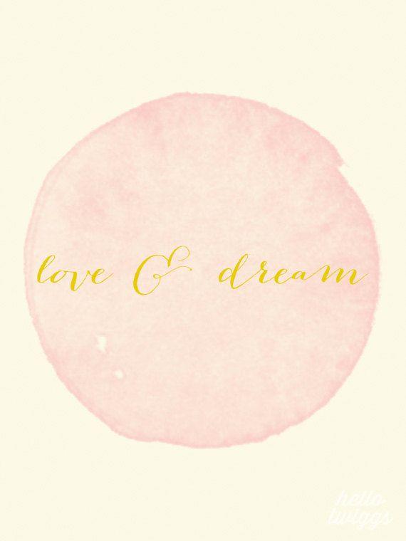 Love Print, Watercolour Print, Romantic Print, Typography, Wall Decor, Vintage Style Poster, Golden - Love & Dream