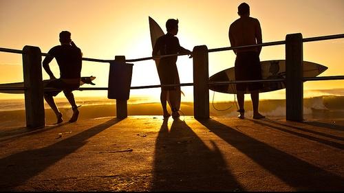 Locals at Durban's town beach