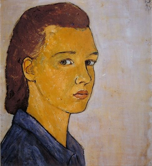Charlotte Salomon (1917-1943)  Salomon was a German Jewish artist who, while hiding from the Nazis in the south of France, created a series of over 700 autobiographical paintings - including the self portrait here - in a two year period. She was deported to Auschwitz in 1943 where she was gassed at the age of 26 while five months pregnant.