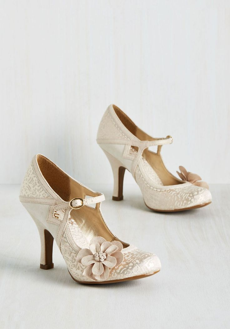 Chimerical Caper Heel in Champagne - Gold, Solid, Cutout, Flower, Scallops, Special Occasion, Prom, Wedding, Party, Cocktail, Holiday Party, Bridesmaid, Bride, Homecoming, Darling, Best, Mary Jane, Variation, Metallic, Graduation, Wedding Guest, High