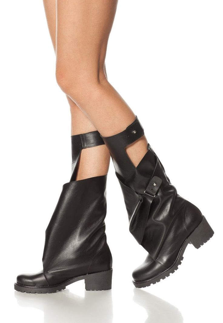 Black Leather Boots With Cut-Outs - Mihaela Glavan
