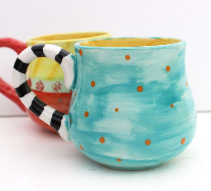 Hand Painted Ceramic Mug - Mix and Match Pottery