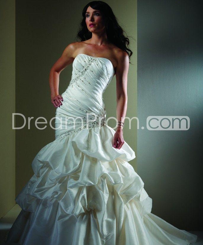 Luxurious Trumpet/Mermaid Strapless Floor-length Chapel Train Ruched Wedding Dresses 2014