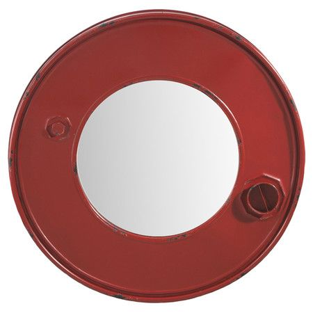 Brimming with urbane appeal, this red metal wall mirror showcases an exaggerated frame and bolt-inspired accents.     Product: Wa...