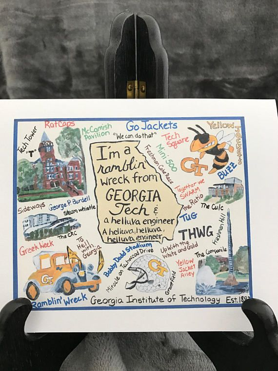 This beautiful greeting card / note card is a print from my acrylic painting of the Georgia Tech fight song, campus buildings, and Georgia Tech traditions. This card can be purchased individually or in a set of 5 or 10. individual card $5.00 set of 5 cards $23.00 set of 10 cards $35.00  Details: -The greeting card is 5 x 6.5 inches when folded. It is blank on the inside for your personal messages and comes with a white envelope. -The card is printed with high quality ink on premium cards...