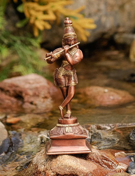Krishna #brass #krishna #statue - The flute-playing Krishna symbolizes the spread of the melody of love.
