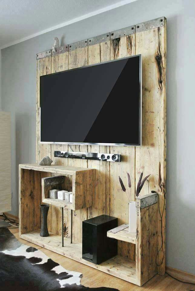 Wooden entertainment center. Rustic and spacious
