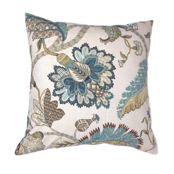French Blue Floral Pillow Cover Teal Brown Taupe Golden Etsy Brown And Blue Living Room Living Room Decor Colors Brown Living Room Decor