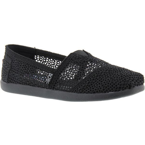 Skechers Bobs World-Daisy & Dot Women's Black Slip On 8.5 M (160 ILS) ❤ liked on Polyvore featuring shoes, sneakers, black, grip trainer, black sneakers, black spot sneakers, black slip on sneakers and black shoes