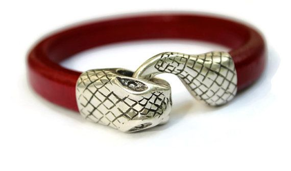 Ouroboros Bracelet Snake Bracelet Red by PepperPotLeatherShop, $45.00