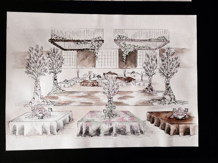 Sketch for pink&chocolate wedding #wedding #sketch