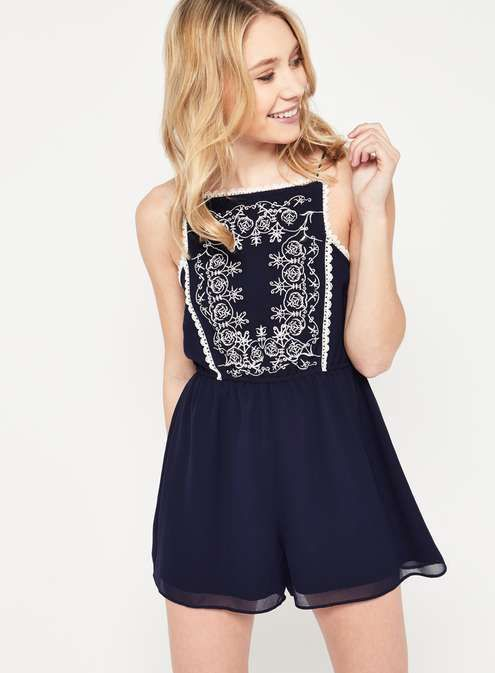 PETITE Embroidered Playsuit - View All - New In - Miss Selfridge