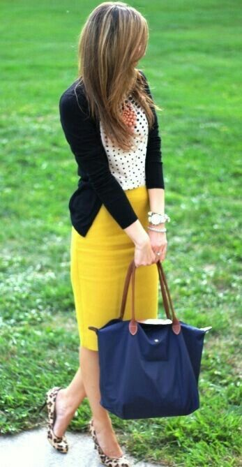 Yellow skirt + white polka dot shirt + black cardigan + leopard shoes