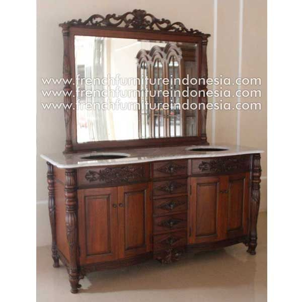 Buy Double Vanity Grey marble top with mirror from French Furniture Indonesia. We are reproduction furniture manufacturer with french style good quality. #NaturalFurniture #MahoganyFurniture #WoodenFurniture #GalleryFurniture #HomeFurniture
