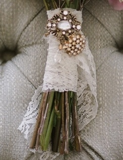Bridal Bouquet Wrapped with Lace with Brooch