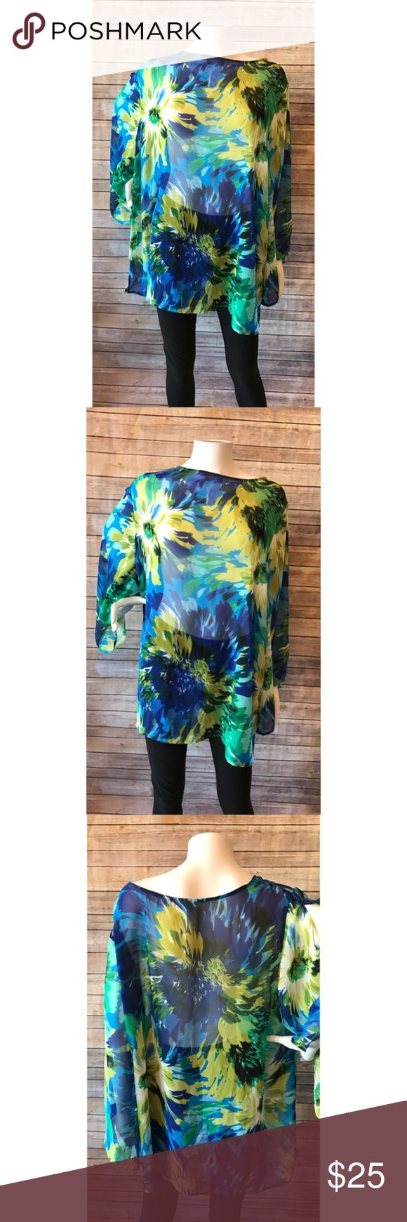 Susan Graver Plus Size Sheer Floral Top Super cute, very good condition! Fast shipping! Susan Graver Tops Blouses