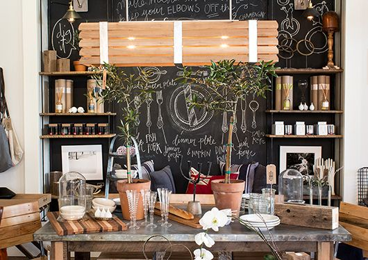 Love the chalk board, the slightly industrial decor, but still somewhat inviting. | industry home shop display