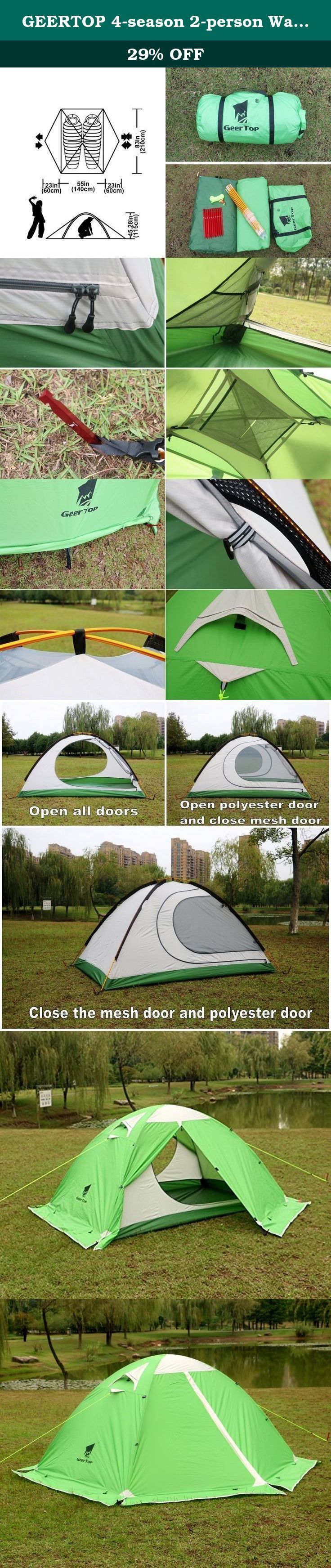 GEERTOP 4-season 2-person Waterproof Dome Backpacking Tent For Camping, Hiking, Travel, Climbing - Easy Set Up. If you're looking for a strong, durable tent with plenty of space and versatility, for every season that doesn't breaking the bank then look no further! Specifications: Number of poles: 2 Pole type: Aluminum Stakes type: Aluminum Seasons: 4 inner tent material: 210T breathable polyester + high density fine nylon mesh. Floor material: 210D PU5000MM Oxford fabric, seam taped. Fly...
