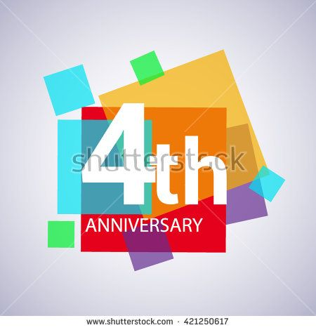 4th anniversary logo, 4 years anniversary colorful vector design. geometric background. - stock vector