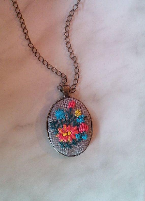 Colorful pendant necklace flower bouquet by RedWorkStitches