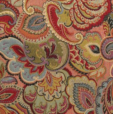 Green, Blue, Red and Gold, Abstract Floral Upholstery Fabric By The Yard contemporary-upholstery-fabric