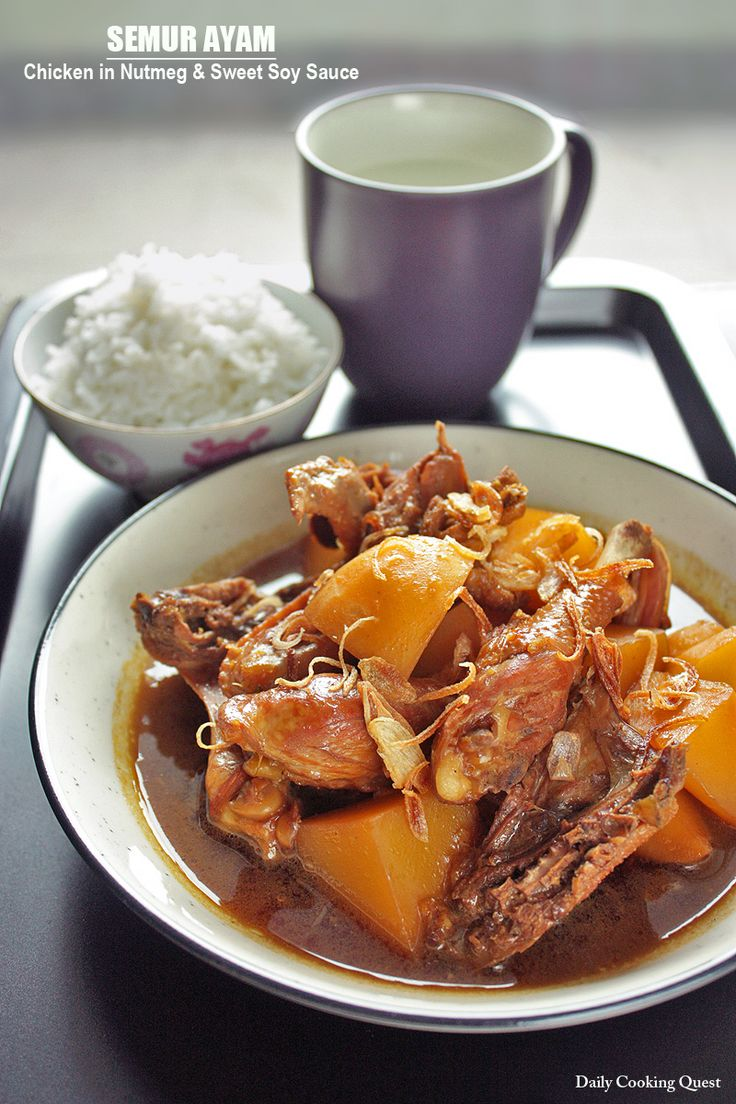 Semur ayam is a chicken and potato dish stewed in nutmeg and sweet soy sauce. The taste is very bold, the chicken and potatoes tender and succulent, and you will want to mop up all the sauce with a big bowl of steamed white rice.