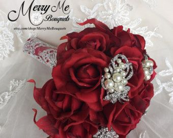 Elegant Brooch Bouquet in Red and White with by BlueLilyBridal