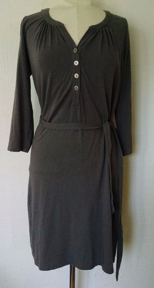 Boden Womens Shirtdress US 6R Soft Jersey Knit Buttons Cinereous Gray Belted Tie #Boden #ShirtDress #Casual