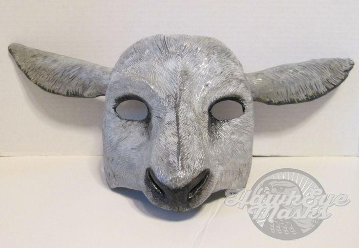 Sheep mask, masquerade mask, custom made, animal spirit mask, farm animal mask, sheep, bo peep, by HawkEyeMasks on Etsy