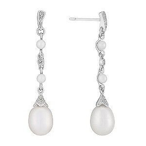 9ct white gold freshwater pearl and diamond drop earrings  - Ernest Jones