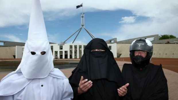 June 21, 2016 Written by: The AIM Network Leave a reply Three men cover their faces to protest the wearing of the burqa in public places (image from smh.com.au) Category: AIM Extra permalink The AI… https://winstonclose.me/2016/06/21/the-facets-of-australian-fascism-the-abbott-government-experiment-part-20-by-dr-george-venturini/