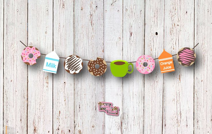 Donut Party Decorations, Donut Party Banner, Birthday Party Decor, Slumber Party, Brunch Decor, Breakfast Party, Doughnut Birthday Party by ShootingStarsParties on Etsy https://www.etsy.com/listing/266169020/donut-party-decorations-donut-party