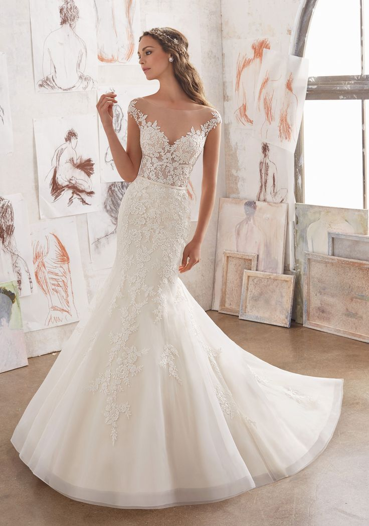 Satin Sheath Illusion Neckline Wedding Dress | Stella York