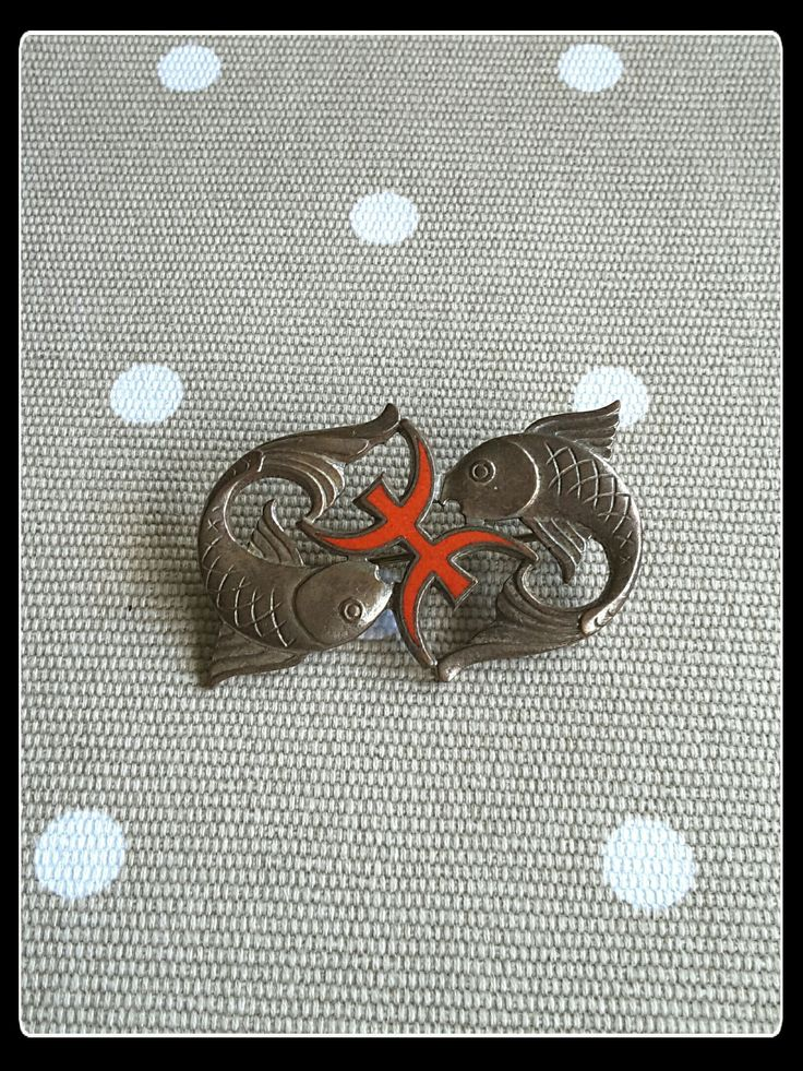 Vintage Pisces  brass brooch by PawhillTreasures on Etsy