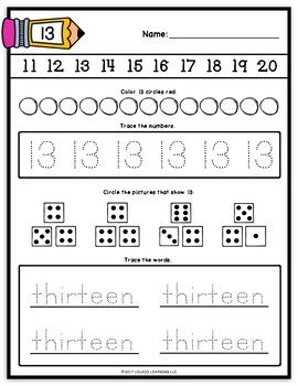 Mastering My Numbers: Number 13 Kindergarten Worksheets ...