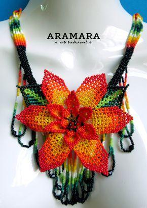 Abalorios de joyería mexicana  collar de Huichol  Huichol
