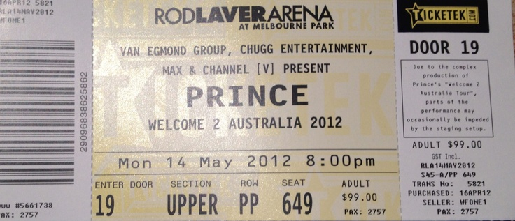 Prince, 2012, Melbourne