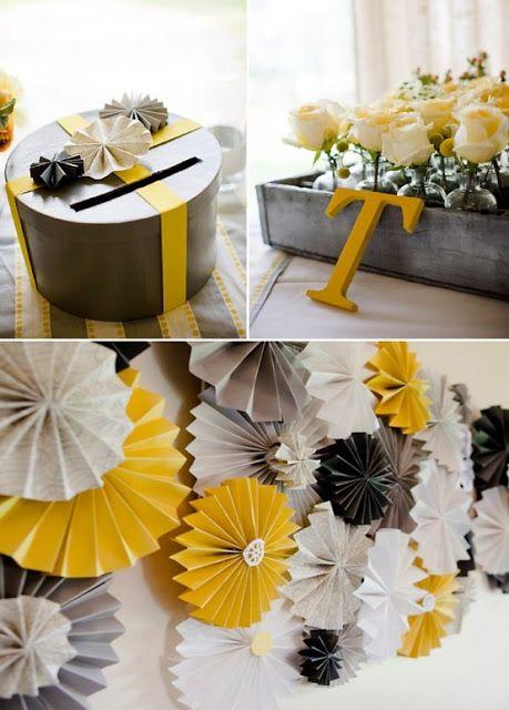 urne mariage gris et jaune