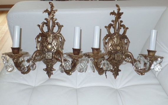 PAIR of Brass & Crystal Wall Sconces Ornate by RoseberryManor