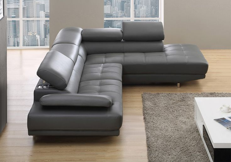 milano stylist modern grey leather corner sofa righthand