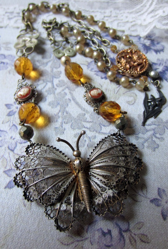 butterfly wings  vintage assemblage necklace by TheFrenchCircus.