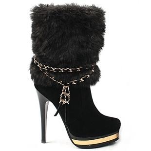 [SHOESONE.BIZ] 2175  Mink Fur Chain Suede Ankle Boots (13cm)