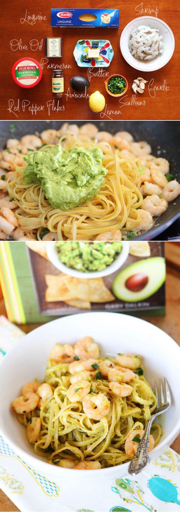 Shrimp & Avocado Pasta. Easy and delicious! - Avocado, lemon, garlic, and freshly cracked pepper.