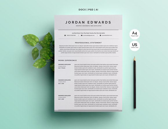 Clean Word Resume Template 4 Pages by Whitegraphic on @creativemarket