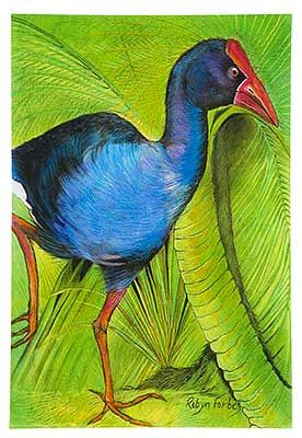 The Pukeko, Medium Art Block - Robyn Forbes | Shop New Zealand