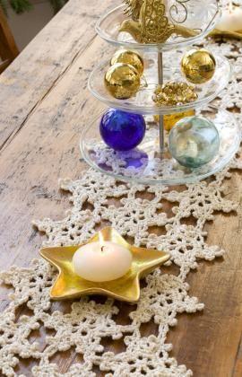 Häkelmuster Für Tischläufer Aus Schneeflocken Crochet Christmas